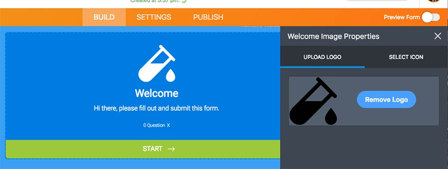 editing the welcome page logo on jotform