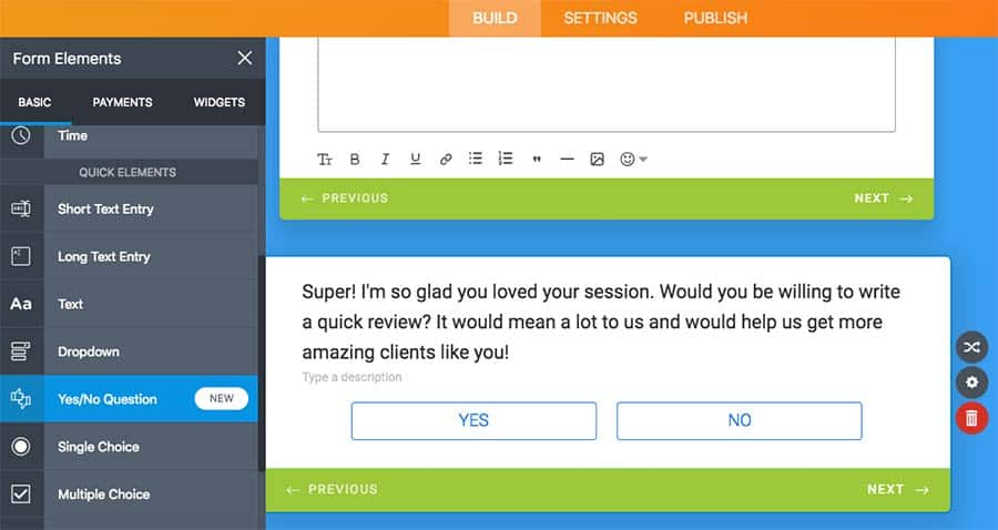 yes or no question on jotform