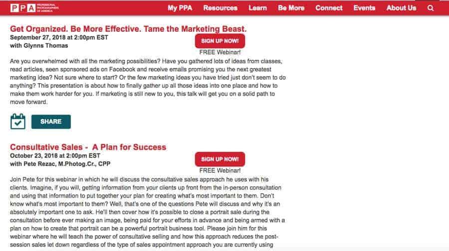 PPA Live Webinar Schedule
