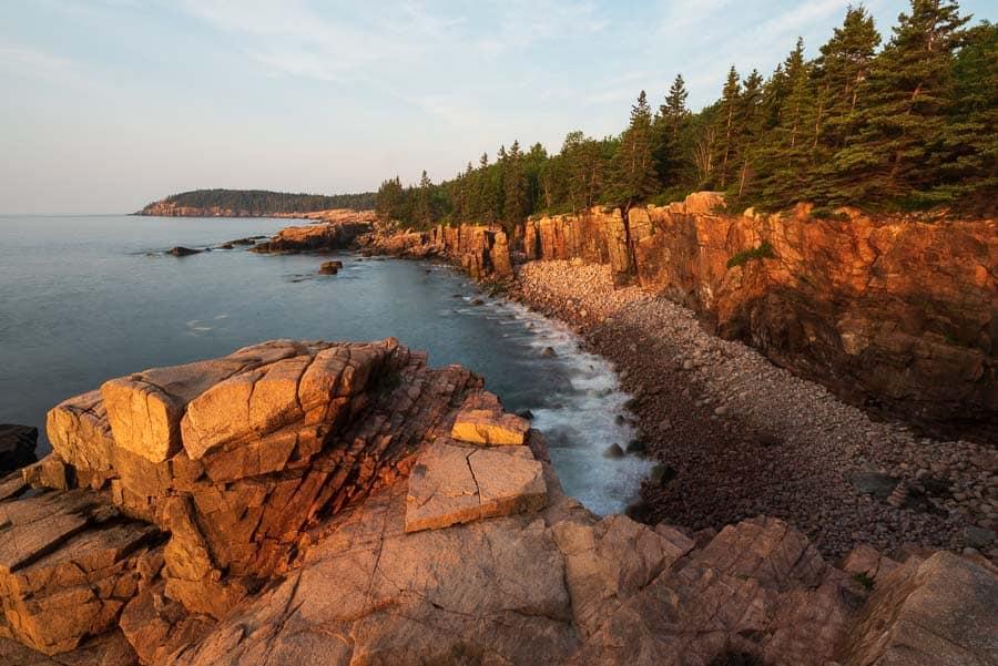 Sunrise along Ocean Path, Acadia National Park.