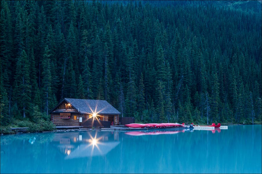 Boathouse in predawn quiet at Lake Louise.